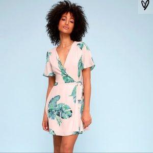 Lulu's Villa Marie Pink Leaf Print Wrap Dress